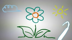 Flower - Hand drawn - Animation - outline - White Background Stock Footage