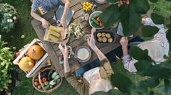 Vegetarian Family Eating Fresh Harvest Stock Footage