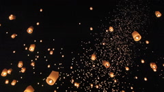 Floating Floating asian lanterns in ChiangMai ,Thailand Stock Footage