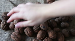 Lot of ripe walnuts with peel Stock Footage
