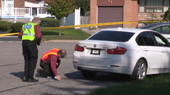 Crime scene with stolen car from hit and run fatal crash Stock Footage