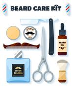 Shaving tools and accessories set for hipsters with soft shadow Stock Illustration
