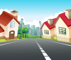 Neighborhood scene with many houses along the road Stock Illustration