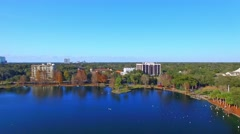 ORLANDO, FL – Beautiful aerial city view from Lake Eola. Orlando Stock Footage