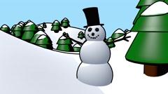 Snowman Christmas holidays happy waving cartoon winter snow man loop 4k Stock Footage