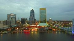 JACKSONVILLE Beautiful night aerial city view. Jacksonville Stock Footage
