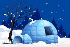 Nature scene with igloo on snowy night Stock Illustration