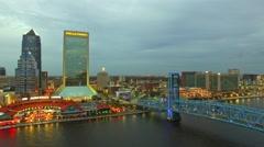 JACKSONVILLE, FL – Beautiful night aerial city view. Jacksonville Stock Footage