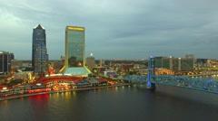 JACKSONVILLE, FL –Beautiful night aerial city view. Jacksonville Stock Footage