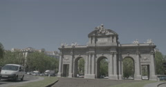 Puerta de Alcalá (Alcalá Gate) - Madrid, Spain - 4K Stock Footage