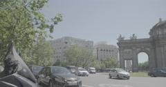 Puerta de Alcalá (Alcalá Gate) Slow Motion - Madrid, Spain - 4K Stock Footage