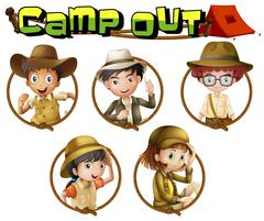 Kids in safari outfit on round badges Stock Illustration