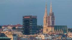 Zagreb capitol of Croatia cathedral and modern skyscraper with a old city Stock Footage
