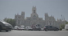 Traffic infront of Plaza de Cibeles (City Hall) - Madrid, Spain - 4K Stock Footage