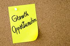 Growth Opportunities text written on yellow paper note Stock Photos