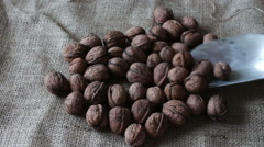Lot of ripe walnuts with peel and shoulder blade Stock Footage