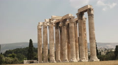 Wide view of the temple of zeus in athens, greece Stock Footage