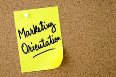 Marketing Orientation text written on yellow paper note Stock Photos