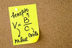 Value is Benefits per Costs formula written on yellow paper note Stock Photos