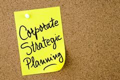 Corporate Strategic Planning text written on yellow paper note Stock Photos