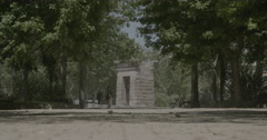 Temple of Debod Through the Trees - Madrid, Spain - 4K Stock Footage