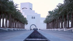 Museum of islamic art at sunset in Qatar Stock Footage