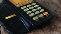Old black telephone with the buttons Stock Footage