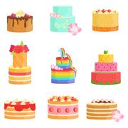 Special Occasion Decorated Cakes Assortment Stock Illustration