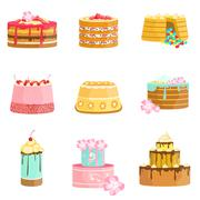 Sweet Party Layered Cakes Assortment Stock Illustration