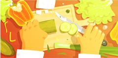 Hands Cutting Vegetbles Colorful Illustration From Above Stock Illustration