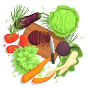 Cutting Vegetables Drawing, With  Board And Fresh Crops Stock Illustration
