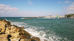View at Mediterranean sea from Pafos, Cyprus Stock Footage
