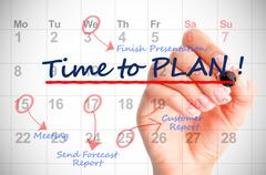 Time to Plan written on a calendar Stock Photos
