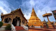 Wat Phrathat Hariphunchai Voramahvihan Landmark Temple of Lumphun, Thailand Stock Footage