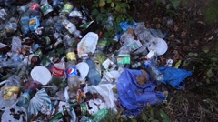 Garbage thrown in the woods. Garbage dump. Stock Footage