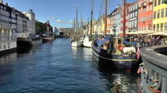 View from Bridge Over Canal at Nyhavn in Copenhagen Stock Footage