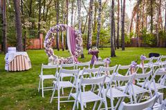 Beautiful wedding set up.  ceremony place in the forest Stock Photos