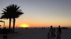Clearwater Beach, Florida: Beach shot with palm tree on Gulf Stock Footage