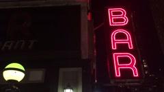 New York City Nighttime NX Establishing Shot CV of Bar Pub. Night exterior video Stock Footage