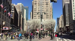 New York City - Pedestrians and shoppers enjoy the warm Spring Stock Footage