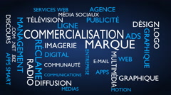 Marketing, branding word tag cloud - blue, French variant Stock Footage