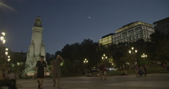 Plaza de España (Spain Square) - Madrid, Spain - 4K Stock Footage