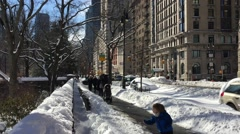 NEW YORK CITY - JANUARY 24, 2016: A two-day storm on January 23 is the city Stock Footage
