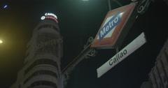 Callao Madrid Metro Sign - Madrid, Spain - 4K Stock Footage