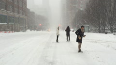 NEW YORK CITY - JANUARY 23, 2016: A two-day storm is the city second largest Stock Footage
