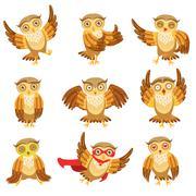 Cute Brown Owl Emoji Icon Set Stock Illustration
