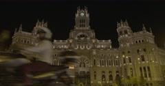 Plaza de Cibeles (City Hall) - Madrid, Spain - 4K Stock Footage