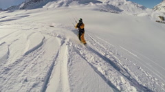 A young man snow kiting on a snowboard , slow motion. Stock Footage