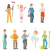 People With Different Professions In Classic Outfits Set Stock Illustration