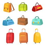 Suitcases And Other Baggage Bags Set Of Icons Stock Illustration